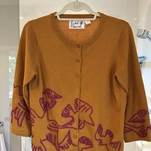 Anthropologie Field Flower Embroidered Sweater